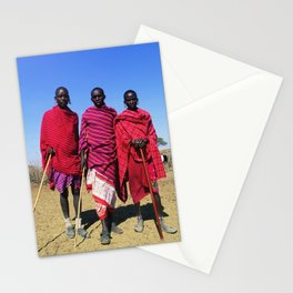 3 African Men from the Maasai Mara Stationery Cards