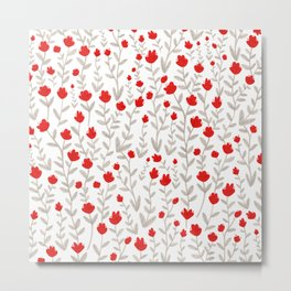 Grey and Red Floral Pattern Metal Print