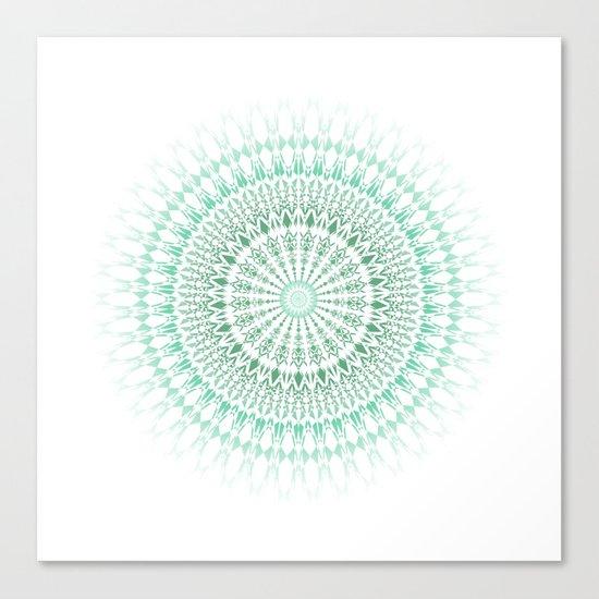 Mint White Geometric Mandala Canvas Print