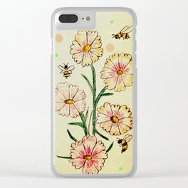 Cosmo Flowers with Bees Clear iPhone Case