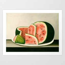 Watermelon on a Plate Painting Art Print