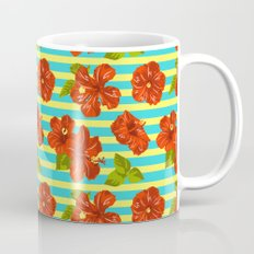 Summer Red Hibiscus Seamless Pattern Mug