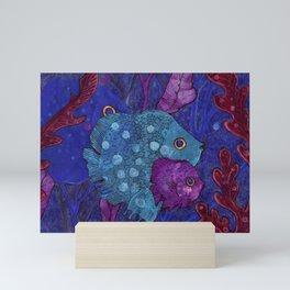 Fish Family in Seaweed Mini Art Print