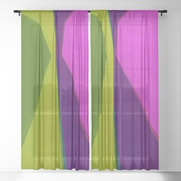 Abstract geometric pattern. Green and violet colors Sheer Curtain