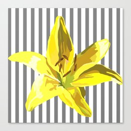 yellow and grey stripes Canvas Print