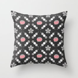 Hanami Nummies   Black Sakura Throw Pillow