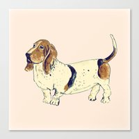 the hound Canvas Prints featuring Basset Hound by Rebecca Mcmillan