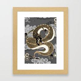 Serpent Dragon Gold and Gray Framed Art Print