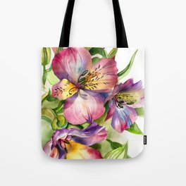 Beautiful watercolor flowers,background of flower petals in rich blue and green tones. H watercolor Tote Bag