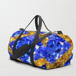 ASYMMETRIC ROYAL BLUE SAPPHIRE GEMSTONES ART ON GOLD Duffle Bag