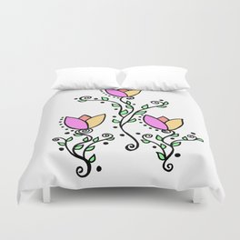 Three Tulips Doodle Art – Violet Peach Yellow Duvet Cover