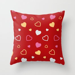 Stylized hearts pattern 2 Throw Pillow