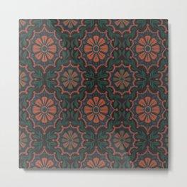 Folk Flower, Vintage Bohemian Floral Pattern Metal Print