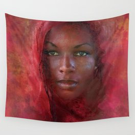 African Beauty With Red Headscarf Wall Tapestry