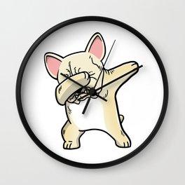 Funny Cream French Bulldog Dabbing Wall Clock