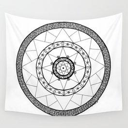 Zen Star Mandala - White Black - Square Wall Tapestry