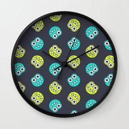 Blue Green Cute Bugs Pattern Wall Clock