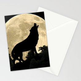 Wolf Howling at the Full Moon A303 Stationery Cards