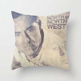 North by Northwest, Alfred Hitchcock, vintage movie poster, Cary Grant, minimalist Throw Pillow