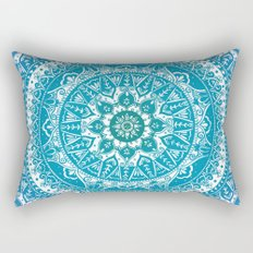 Aquamarine Mandala Pattern Rectangular Pillow