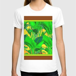 COFFEE BROWN TROPICAL GREEN & GOLD FOLIAGE ART T-shirt