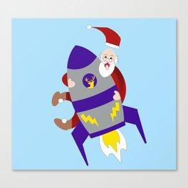 Santa on space rocket Canvas Print