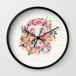 Initial Letter T Watercolor Flower Wall Clock