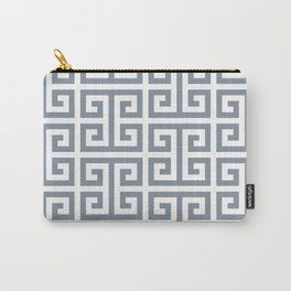 Large Steel Grey and White Greek Key Pattern Carry-All Pouch