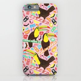 Toucandy - a sugary paradise with jelly beans and licorice surround tropical toucans on candy canes iPhone Case