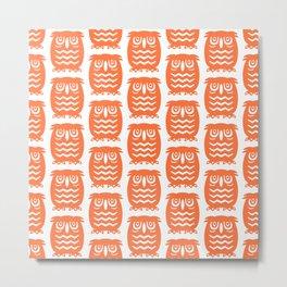 Mid Century Owl Pattern Orange Metal Print
