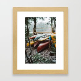 Canoes on Pleasant Lake Framed Art Print