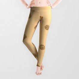 Burly Wood1 Gold Glitter Dot Pattern Leggings