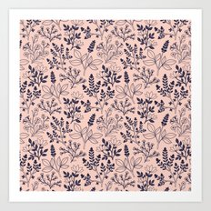 Blush Pink Floral Pattern Art Print