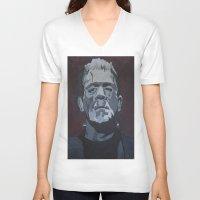 frankenstein V-neck T-shirts featuring Frankenstein by Paintings That Pop
