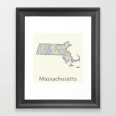 Massachusetts map Framed Art Print