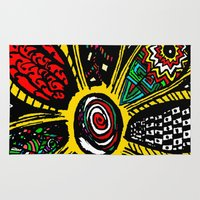 hippy Area & Throw Rugs featuring Patchwork Hippy Flower by Silvio Ledbetter