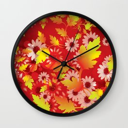 Flowers from the Garden Background V Wall Clock