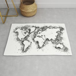 Watercolor splatters world map in grayscale Rug