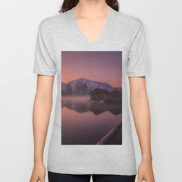 Rustic Little Shack At Lakeside At Romantic Sunset Over Snow Covered Mountains Purple Shade Ultra HD Unisex V-Neck