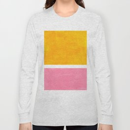 Pastel Yellow Pink Rothko Minimalist Mid Century Abstract Color Field Squares Long Sleeve T-shirt
