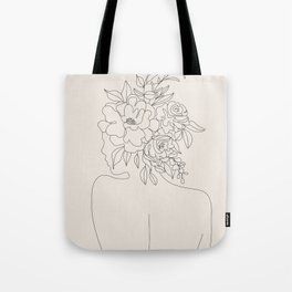 Woman with Flowers Minimal Line I Tote Bag