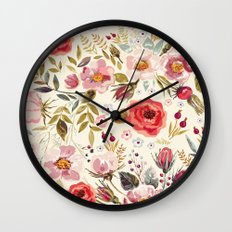 Floral Theme Wall Clock