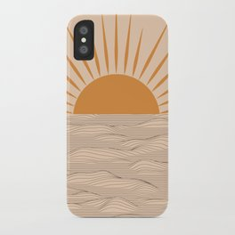 Modern abstract aesthetic background with sun and sea waves, sunset and sunrise illustration iPhone Case