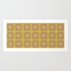Wheat Check in Mustard Art Print