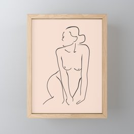 Nude woman line drawing Framed Mini Art Print