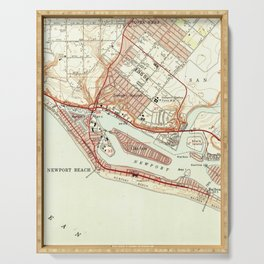 Vintage Map of Newport Beach California (1951) Serving Tray