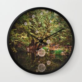 Balls of Light in Forest Wall Clock