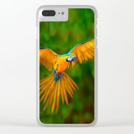 Flying Golden Blue Macaw Parrot Green  Art Clear iPhone Case