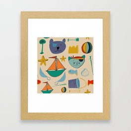 cat and bear pirate at the beach cream Framed Art Print