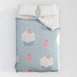 Cute cartoon cupcakes and strawberries pattern Comforters